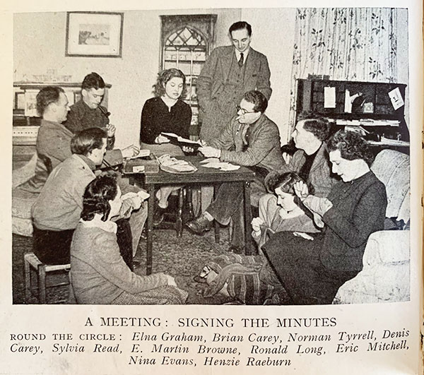 Pilgrim Players of Canterbury, a touring theatre group - actors and director E Martin Browne in WW2